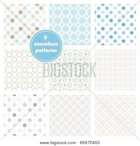 Vector Set Of Nine Blue Seamless Geometric Patterns. Ideal Elements For Scrapbooking Sets