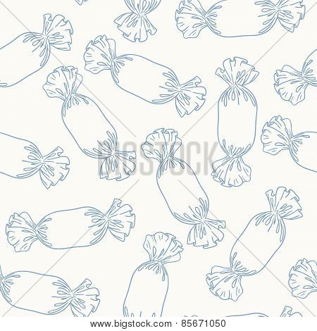 Outline Candies Seamless Pattern