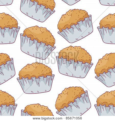 Seamless Pattern With Hand Drawn Pastries In Vector