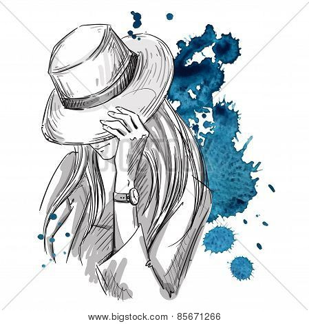Girl in hat looking down. Fashion illustration