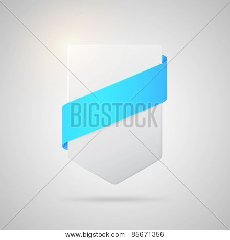 Vector paper badge with blue silk ribbon