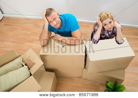 Young Couple With Cardboard Boxes