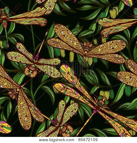 Seamless Hand Drawn Vintagel Pattern With Dragonflies And Olive Branches