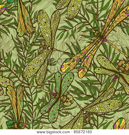 Seamless Hand Drawn Vintagel Pattern With Dragonflies And Rosemary Herb