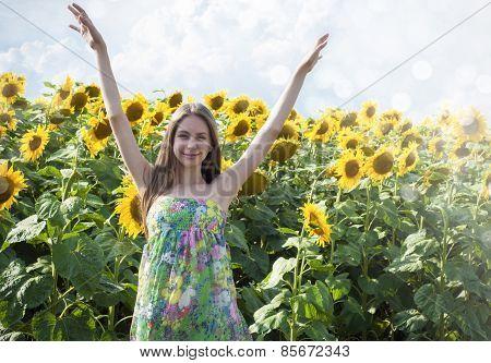 Beautiful Girl With Sunflower
