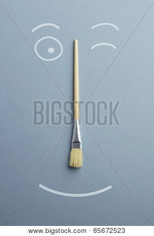 Doodle Portrait Of A Happy Paintbrush
