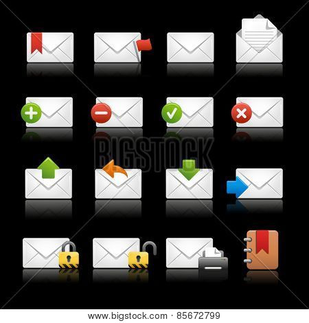 e-mail Icons - Set 2 // Black Background -- EPS 10 -Background color and shadows are editable and can be easily changed.