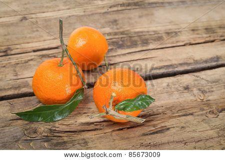 Tangerine Fruits On Wooden Background