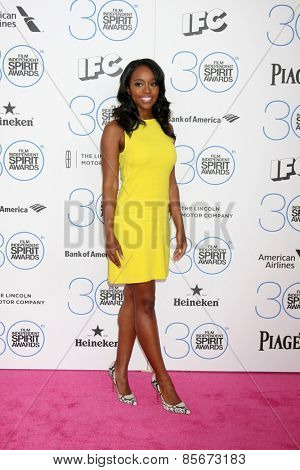 LOS ANGELES - FEB 21:  Aja Naomi King at the 30th Film Independent Spirit Awards at a tent on the beach on February 21, 2015 in Santa Monica, CA
