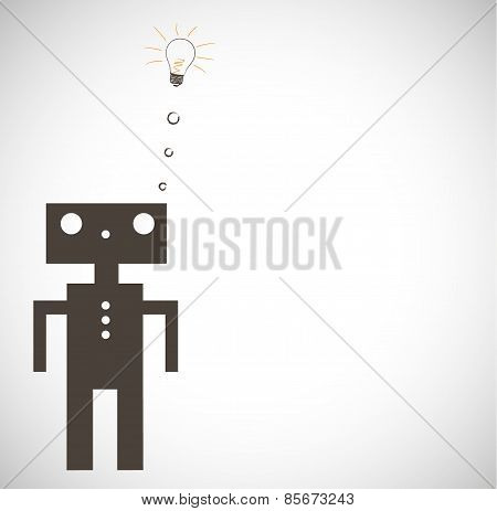 Robot on Grey Background. Vector.