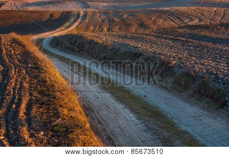 Sandy Rural Road And Plowed Fields