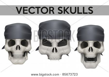 Set of Vector Human skulls with bandana on head
