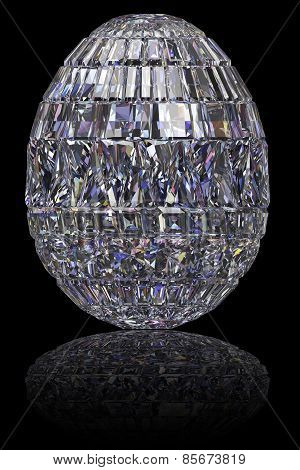 Easter Egg Composed Of Gemstones On Glossy Black Background