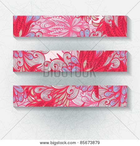 Set Of Horizontal Hand Drawn Floral Banners, Invitation, Greeting Or Visiting Cards. Eps10