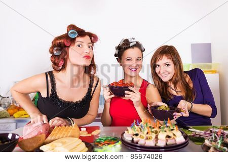 Three Beautiful Young Women Housewifes Cook Together