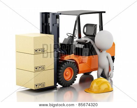 3d white people with a forklift and cardboard boxes