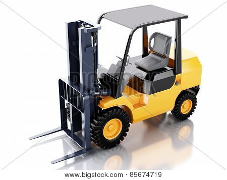 3d Forklift truck. cargo. Isolated white background
