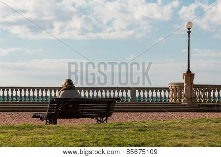 Lonely Woman Sitting On Public Bench, Waterside Solitude