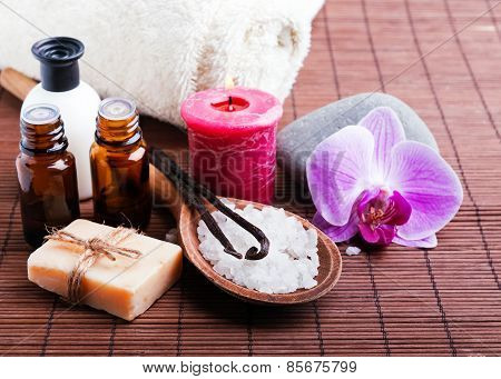 Spa Still Life With Vanilla Pods, Hand Made Soap And Aroma Oils