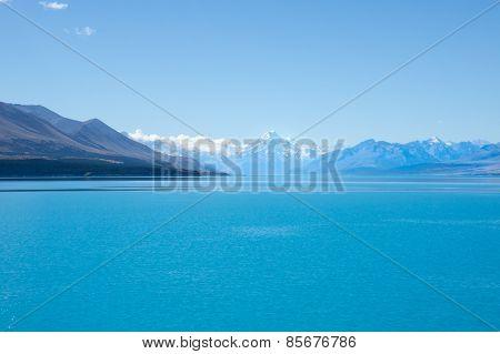 Sparkling water of lake Pukaki, New Zealand.