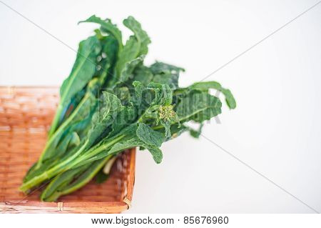 Bunch Of Kale In Brown Basket On White Background