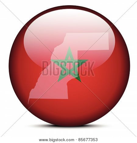 Map On Flag Button Of Western Sahara