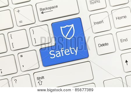 White Conceptual Keyboard - Safety (blue Key With Shield)