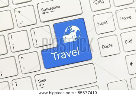 White Conceptual Keyboard - Travel (blue Key)