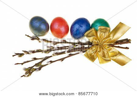 Easter Catkins With Easter Eggs Isolated On White Background