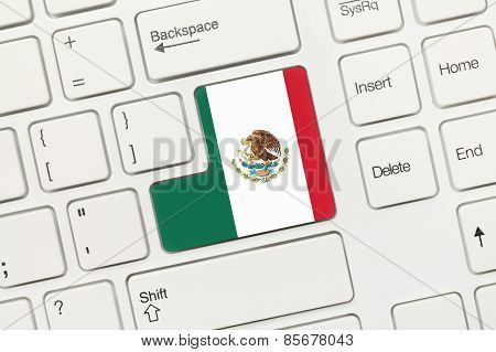 White Conceptual Keyboard - Mexico (key With Flag)