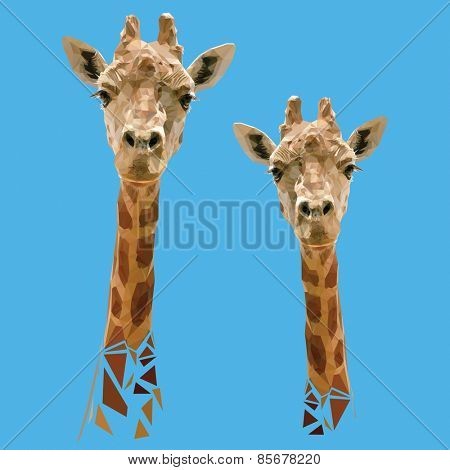 Vector Polygonal Illustration with Giraffes