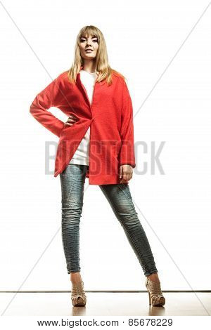 Full Length Fashion Woman In Red Coat.