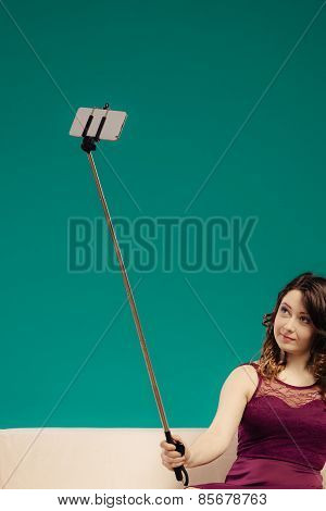 Girl Taking Self Picture Selfie With Smartphone