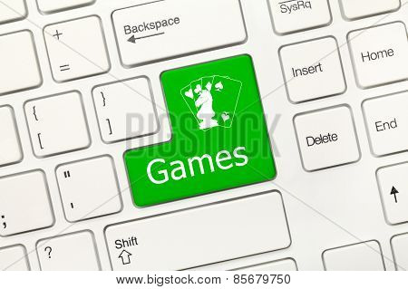 White Conceptual Keyboard - Games (green Key)
