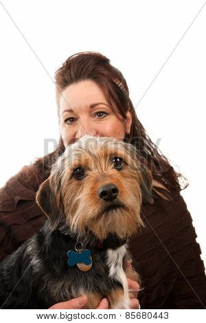 Woman Holding Her Pet Dog