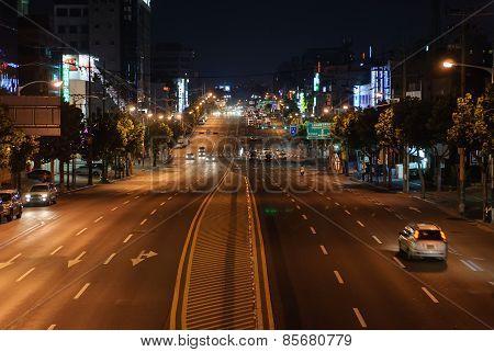 Seoul, Korea - August 12, 2006: Night View Of Nambu Beltway In Seoul City