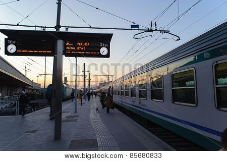 Rome, Italy - January 23, 2010: Train Platform At Termini Station