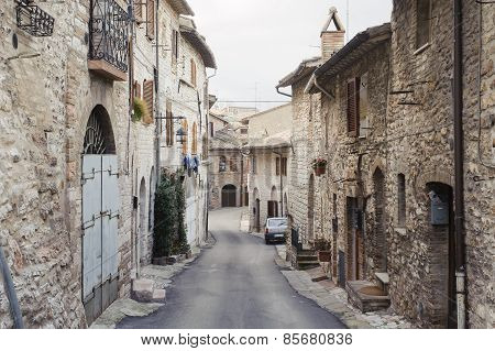 Assisi, Italy - January 23, 2010: Street In Assisi