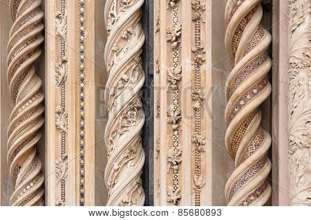 Orvieto, Italy - January 25, 2010: Detail Of Orvieto Cathedral.