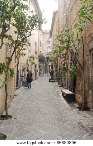 Orvieto, Italy - January 25, 2010: Alleyway In Orvieto