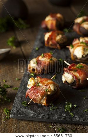 Homemade Bacon Wrapped Mushrooms