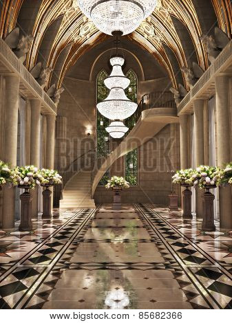 Church Cathedral interior with flower arrangements. Photo realistic 3d scene