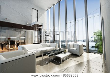 Luxury estate interior with ocean view and yacht. Photo realistic 3d scene.