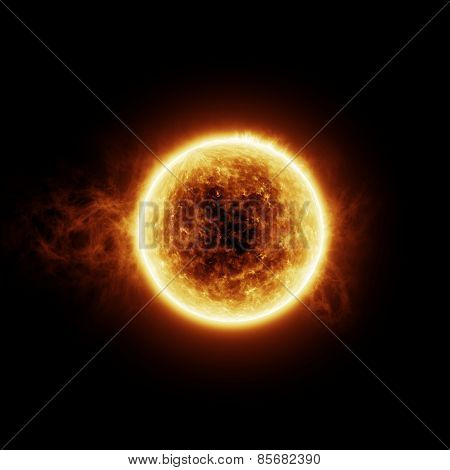 Burning sun on a black background with room for text or copy space