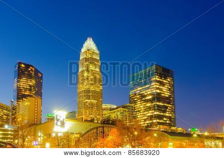View Of Charlotte Skyline Aerial At Sunset
