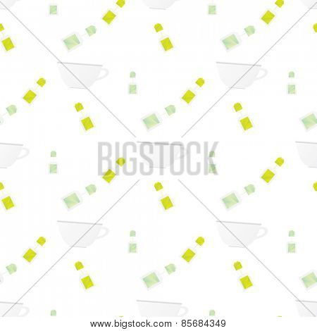 pattern with cup and teabag on white background