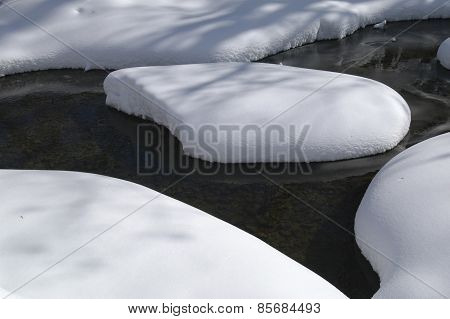 Snow Island In Creek