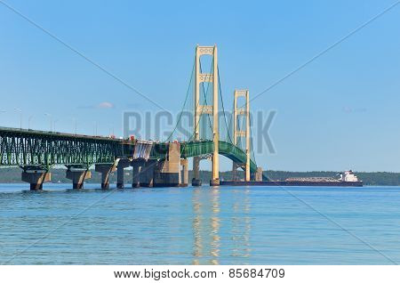 Mackinac Bridge, Freighter