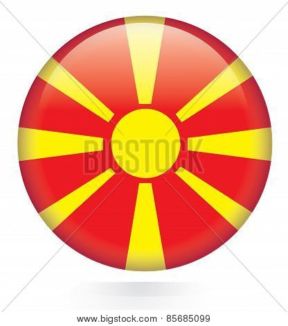 Macedonia flag glossy button