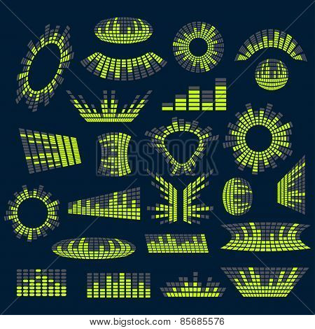 Set of digital music  equalizer vector design elements